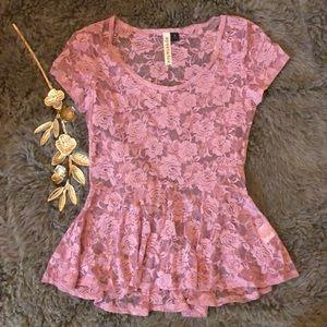 A-line Lace Cap Sleeve Shirt